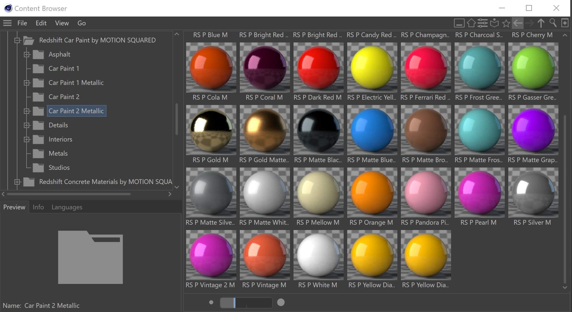 Cinema 4D Redshift Car Paint Library